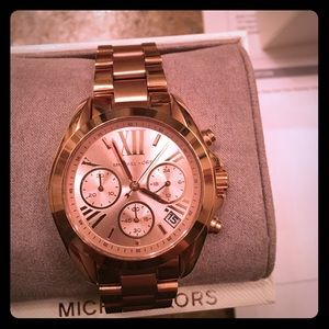 Rose Gold Michael Kors watch with receipt and box